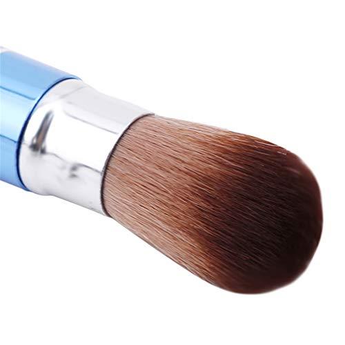 Mvude Pinceau de Maquillage pour Fond de Teint en Poudre Liquide Portable Kabuki Brush,Bleu
