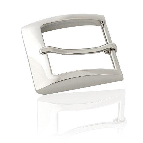 Gürtelschnalle Buckle 40mm Metall Silber Poliert - Buckle Kingly - Dornschliesse Für Gürtel Mit 4cm Breite - Silberfarben Poliert