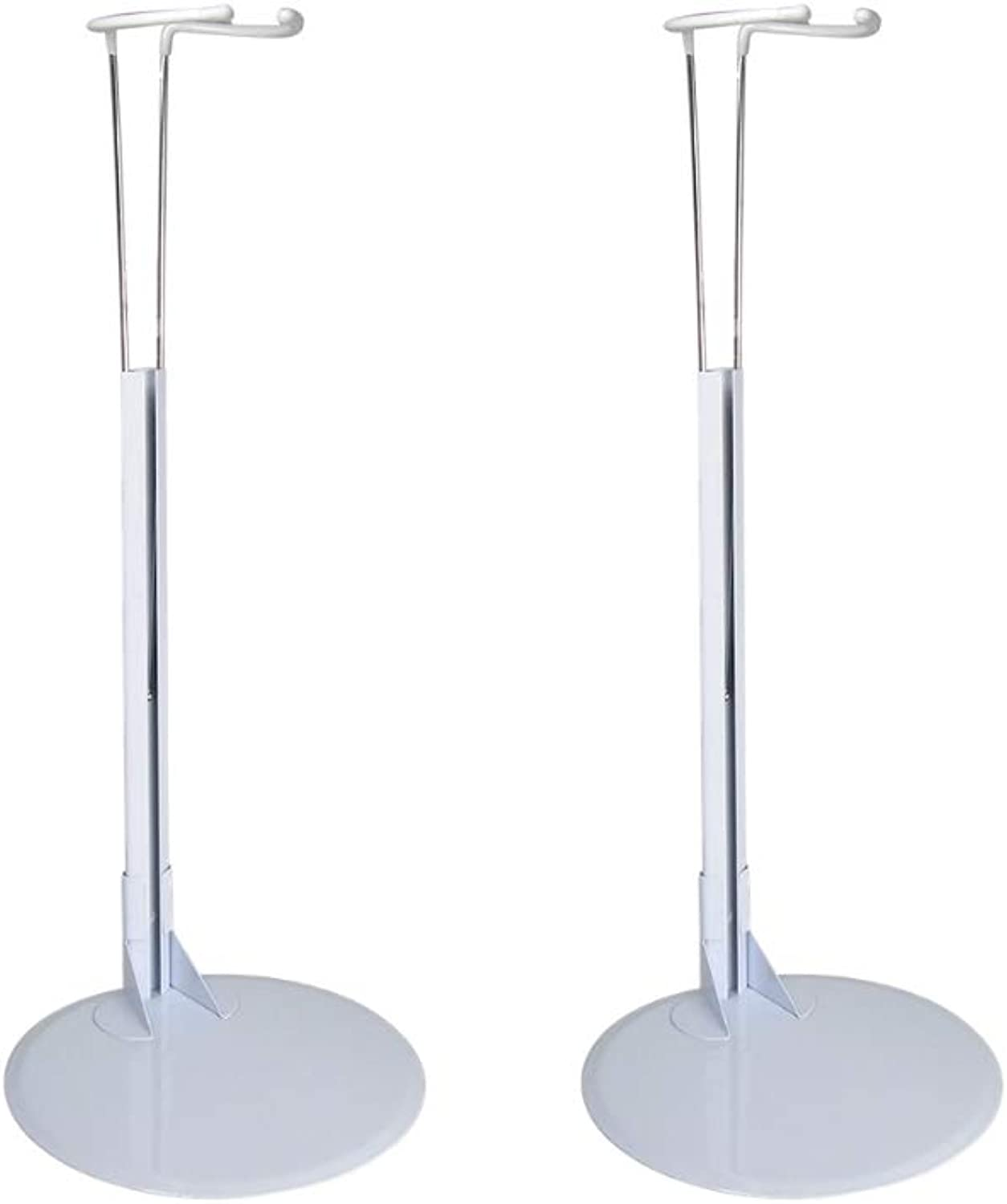Large Doll Stand Holder - Set of 2 White Vinyl Coated Metal Adjustable Clasps - Fits Dolls and Action Figures 17  to 31  High