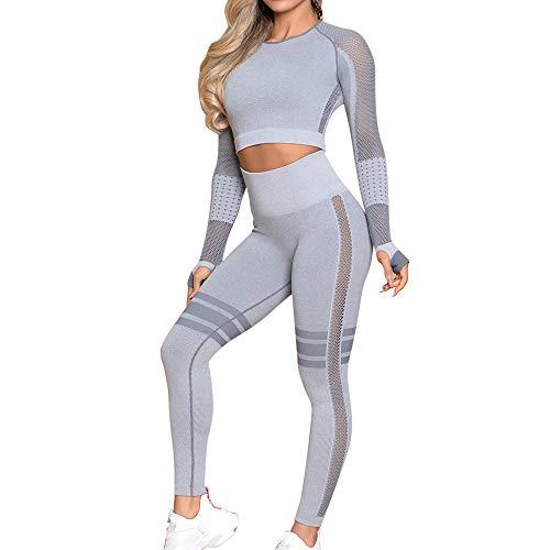 OEAK Damen Sportanzüge Jogginganzug Sport Sets Hosen + Sport Crop Langarmshirt 2 Stücke Bekleidungssets Yoga Outfit Freizeitanzug Sportswear