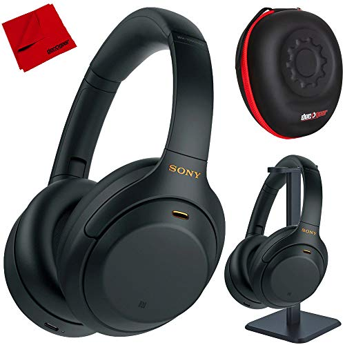 Sony WH1000XM4/B Premium Noise Cancelling Wireless Over-The-Ear Headphones with Built in Microphone Black Bundle with Deco Gear Premium Hard Case + Pro Audio Headphone Stand + Microfiber Cloth