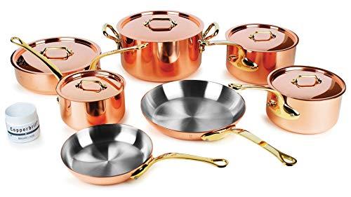 Mauviel M200B 12 Piece Copper Cookware Set - 2mm Copper with Bronze Handles