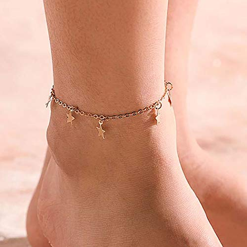 Aetorgc Boho Anklets Star Anklet Bracelets Beach Foot Chain Jewelry for Women and Girls One Size Gold