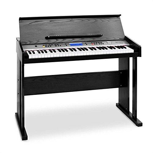Schubert Carnegy-61 - piano eléctrico, teclado, 61 teclas, sensibilidad a la rapidez, 100 ritmos, 136 instrumentos, 8 pistas demo, altavoces, salida de línea, MIDI, función dual, negro