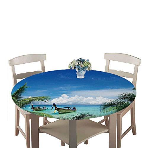 Chickwin Ronde Nappe de Table Élastique Ajustable, Imperméable, Couverture de Table Kitchen Extensible Protection Tables pour Restaurants, Pique-niques, Barbecues (Noix de Coco,150cm)