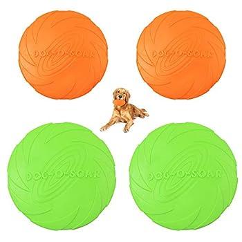 4pcs Frisbee pour Chien, Frisbee en Caoutchouc, Disque Chien pour la Formation de Chien, Lancer, Attraper et Jouer, Convient aux Chiens de Taille Moyenne et Grande (18 cm / 15 cm)
