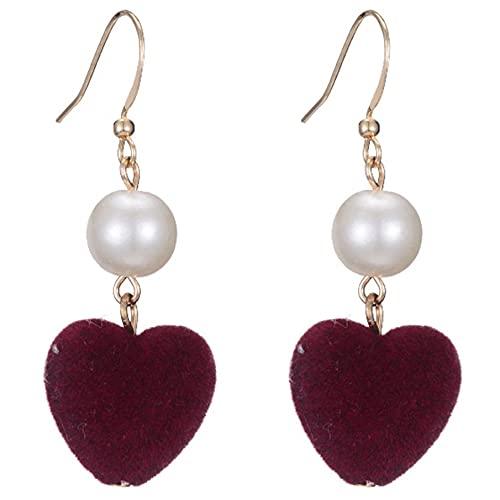 AnXiongStore Pendientes Amor Corazón Pendientes Cuelgan Franela roja Traje Chapado en Dulce Regalo Encantador Perla de Moda Coreana