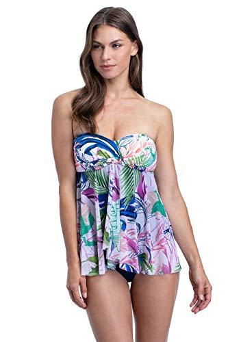 Profile by Gottex Women's Bandeau Flyaway One Piece Swimsuit, Tropicana Multi, 6