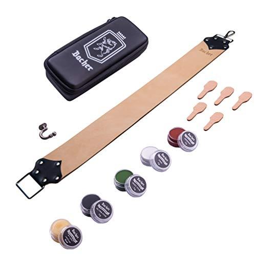 BACHER Premium Abziehleder Streichriemen LONG&WIDE 72x8cm. Inklusive Tragetasche und Erweichungsbalsam + Kit für Schleifmassen