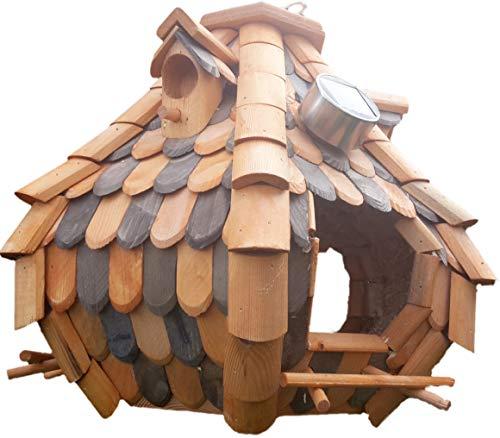 Großes Luxus Solar Licht Vogelhaus Holz Bunt Vogelfutterhaus Vogelhäuschen K32S LED (Braun / Dunkelbraun)