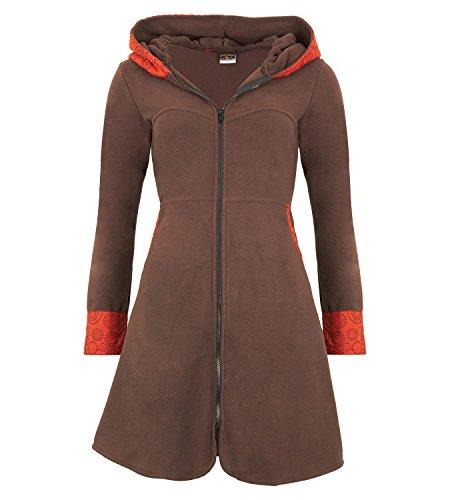 KUNST UND MAGIE Fleece Mantel Jacke mit Kapuze Goa PSY Hippie Boho romantisch, Größe:36, Farbe:Braun/Orange