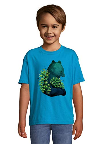 Luckyprint Giant Nature Bear Trees and Birds Blue Kids Colorful T-Shirt 2 Year Old