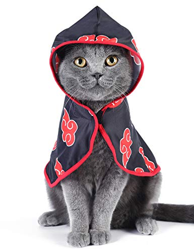 Impoosy Pet Costume Funny Cloud Cat Clothes Cloak Anime Ninja Hoodies Cosplay Cope for Small Dogs Cats Outfits (Large)