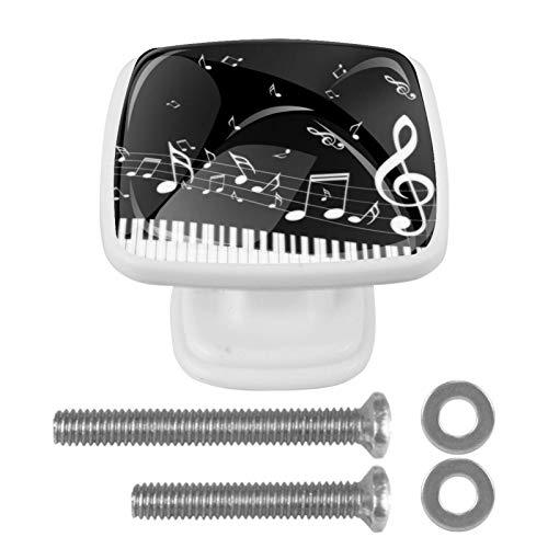 Music Piano Note Day [4 Stuck] Küchenknöpfe - Türknopf Knauf für Schrank, Schubladenknopf, Türknäufe, Möbelknopf