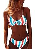 CheChury Mujer Sexy 2 Piezas Conjuntos de Bikini Push Up Trajes de Baño con Cuello Halter Rayas Colorido Conjuntos de Bikini Lazos Delantero Playero Bañador