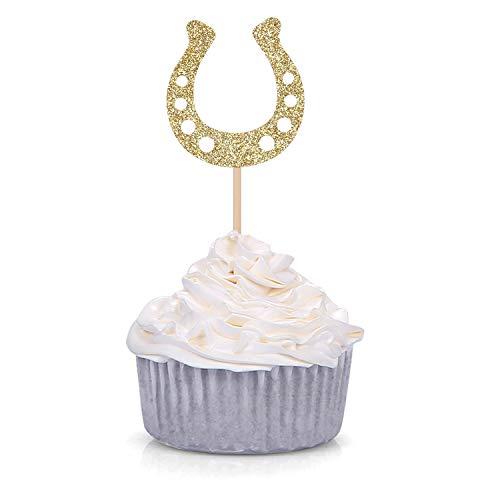 24 piezas de decoración para cupcakes Kentucky Derby de caballos ecuestres para fiestas temáticas de caballos
