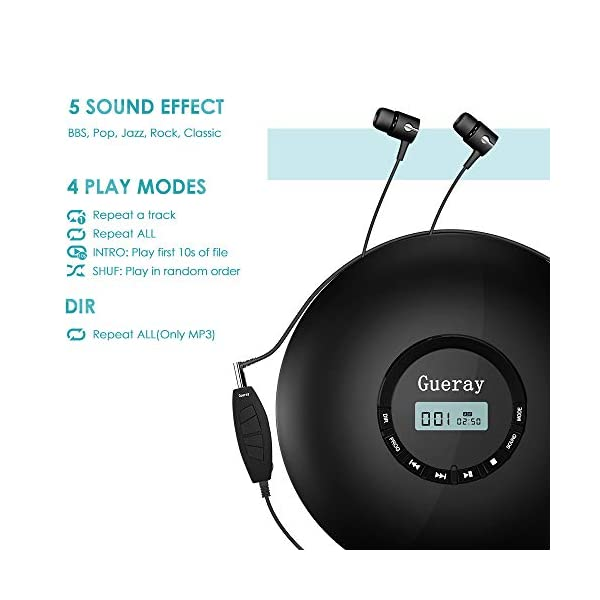Portable CD Player 1400mAh CD Walkman Rechargeable CD Player Portable Gueray CD Discman Personal CD Player with Headphones Jack USB Supply CD Music Disc with LCD Display (Black) 5