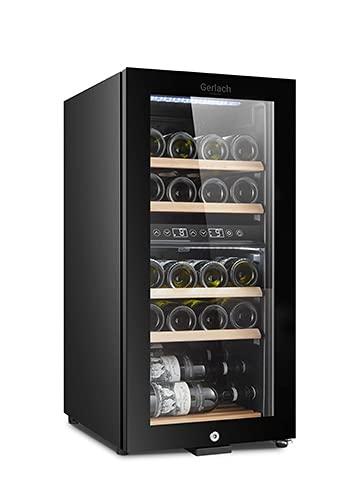 Gerlach GL 8079 Vinoteca 24 Botellas, Capacidad de 60L, Estantes en Madera de Haya, Panel Táctil y Pantalla LED, Regulador de Temperatura 2 Zonas 5 a 20 °C, Dual Cooling