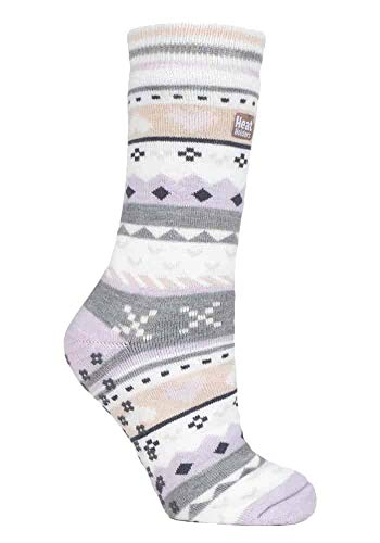 HEAT HOLDERS - Damen Thermo Winter Warm Antirutsch Noppen Kuschelsocken mit Abs Sohle in Geschenkbox (37/42, Lilac/Grey (Soul))