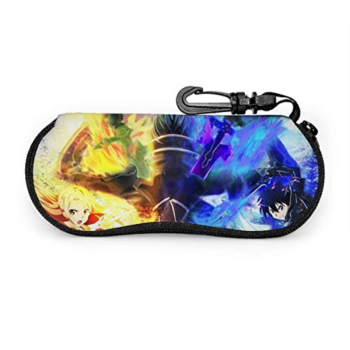 sherry-shop Occhiali da sole multiuso Sword Art Online morbidi con clip da cintura, custodia per occhiali con cerniera in neoprene ultraleggera, 17 cm × 8 cm