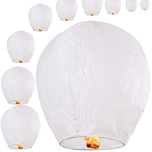 Chinese Sky Lanterns 10-Pack 100% Biodegradable (White)