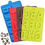 FineGood - 4 moldes de silicona con números de alfabeto, moldes para dulces de chocolate con 26 letras y números, bandejas para hornear caramelos, moldes para galletas y cubitos de hielo