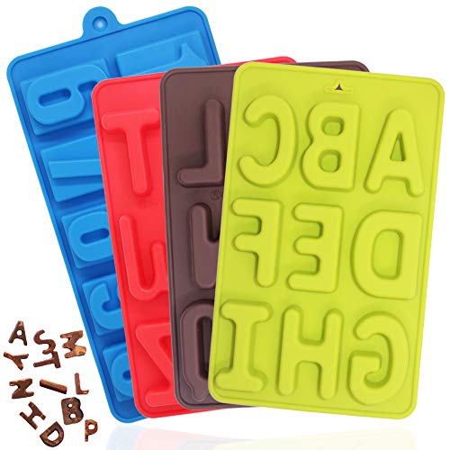 4 Pcs Silicone Numbers Alphabets Trays Molds, FineGood 26 letters & Numbers Candy Mould Biscuit Chocolate DIY Baking Pans Ice Cube Making Trays -green, brown, red, blue