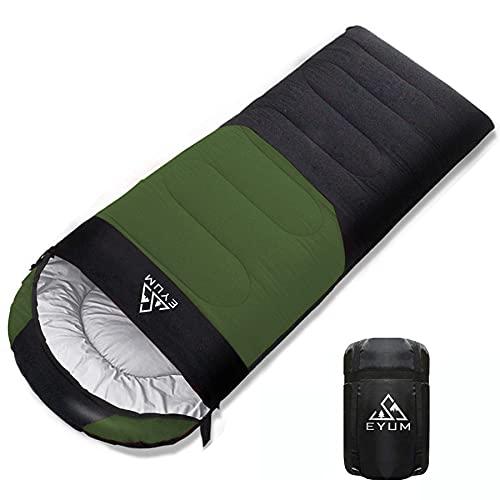 EYUM 寝袋 シュラフ 封筒型 軽量 超暖かい 210T防水 コンパクト 簡単収納 車中泊 防災用 アウトドア キャンプ 丸洗い可能 収納袋付き 春夏秋冬の使用可能 快適温度5度~25度 1.4KG ダークグリーン