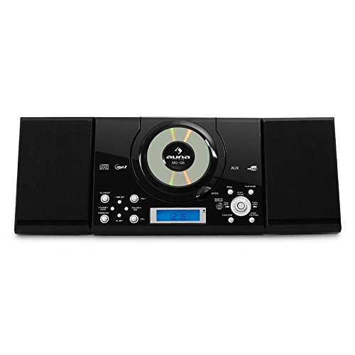 Auna MC-120 New Black Edition - Equipo de música estéreo , Radio FM , Reproductor CD , MP3 , AUX , USB , Despertador , Pantalla LCD , Memoria 20 emisoras , Mando a Distancia , Negro