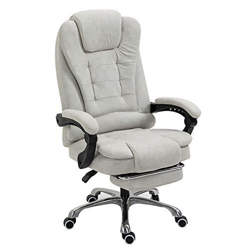 Silla de oficina ejecutiva ergonómica, silla reclinable de tela técnica con respaldo alto, reposapiés retráctil para la siesta, escritorio de computadora ajustable en altura y silla con base de meta