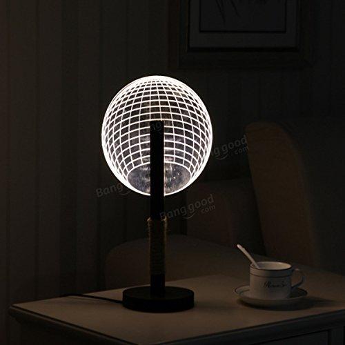 Bazaar Lampe de table ronde en forme de boule 3D LED pour la lumière de nuit Acrylique Dimmable Art Lampe de table Cadeau de Noël