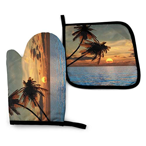 Oven Mitt and Pot Holders, 2 Piece Set, Sunset Coconut Palm Tree on Beach Blue Ocean Cotton Lining Non-Slip BBQ Gloves