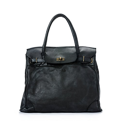 Ira del Valle, Bolso Mujer, Piel genuina, Vintage, Modelo Boston, Made in Italy (nero)