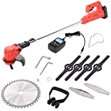 Cordless Electric Trimmer Grass Trimmer Cordless,String Trimmer,Lawn Mower,Cordless String Grass Trimmer Weed Eater with 24V Lithium-ion Batteries for Outdoor Yard (Red)