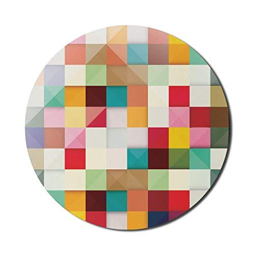 Alfombrilla de ratón abstracta para computadoras, estilo moderno, inspirada en un cubo, gráfico colorido, diseño original, imagen original, redonda, antideslizante, de goma gruesa, moderna alfombrilla