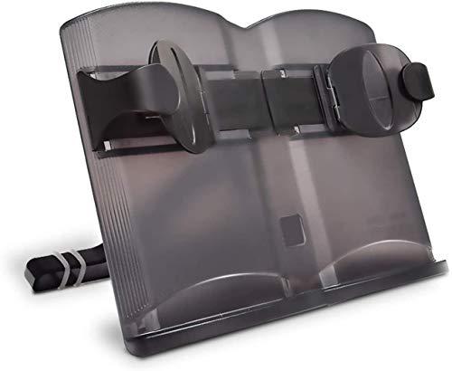 【片手でページをめくる】 ブックスタンド 書見台 読書台 Book Stand 180°無段階調節 折りたたみ ブックホルダー 超薄型 多用途 ノートパソコン/iPad適用 (黒)