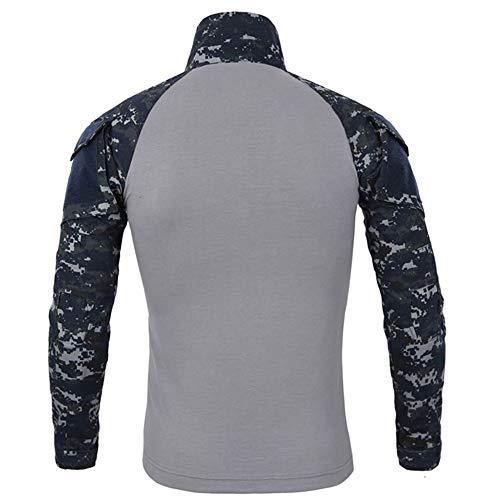AIni Herren Tactics Camouflage Lange Ärmelumfang Beefy Muskel Basic Solid Bluse T-Shirt Top Warm Coat Mäntel Jacke 2019 Neuheit(L,Blau)