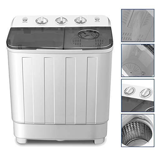Portable Washing Machine 17lbs Compact Twin Tub Washer and Dryer Combo for...
