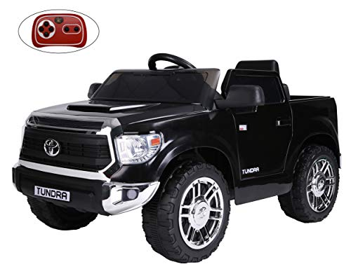 Rock Wheels Licensed Toyota Tundra Ride-On Car, 12V Battery Powered Electric 4 Wheels Kids Toys w/ Remote Control, Foot Pedal, Music, Aux, LED Headlights, 2 Speeds- Black (Midnight Black)