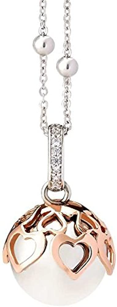 Boccadamo,collana per donna, chiama angeli, in bronzo rodiato, con contromaglia zirconata,ciondolo sonoro TRGR09