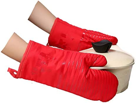Tbrand Oven Mitts 500 Degree Heat Resistant Striped Silicone Oven Gloves Non Slip Kitchen Mittens product image
