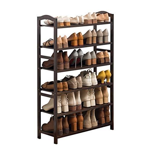 Zapatero pequeño Bamboo Zapato de Zapatos de 6 Pisos, Sencillo y económico, se Puede acomodar hasta 24 Pares, Ideal para Corredores Hall de Entrada Zapatero