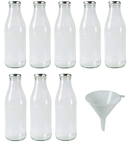 Viva-huishoudelijke artikelen - glazen flessen/melkflessen 250ml met zilverkleurige schroefsluiting - incl. vultrechter