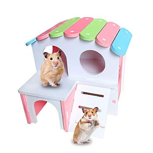 Andiker casa de madera para hámster, caseta para pequeño animal de esconderse, equipado con escalera, caseta de dos pisos para hámster, Chinchilla, gato, gerbola y ratón (rosa)