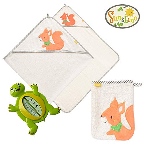 Fehn kit per bagnetto neonato,'Sunshine Collection' Asciugamano Da Bagno con cappuccio in Cotone + Guanto per bagnetto + Termometro per Bagnetto