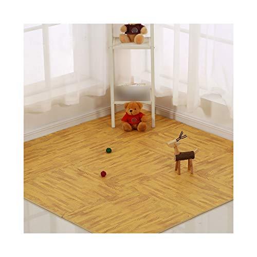 LXZFJW Baldosas de espuma entrelazadas para suelos de madera estilo grano protector para el hogar, la oficina, sala de juegos, grano de madera claro, 60 × 60 × 1 cm, 6 unidades