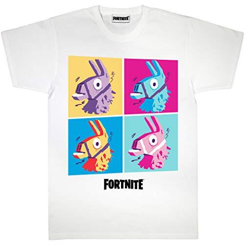 Fortnite Llama Pop Art Novio Camiseta Apta de Las Mujeres Blanco S | S-XXL, Gamer X-Box PS4 PS5 Flojo Holgado de Gran tamaño Crew clásico Cuello en gráfico, Idea del Regalo de cumpleaños