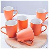 RF-Influx Porcelain Tea Cup Set of 6, Macaroon Color Ceramic Coffee Mugs for Coffee Tea Milk Juice Cup (Orange)