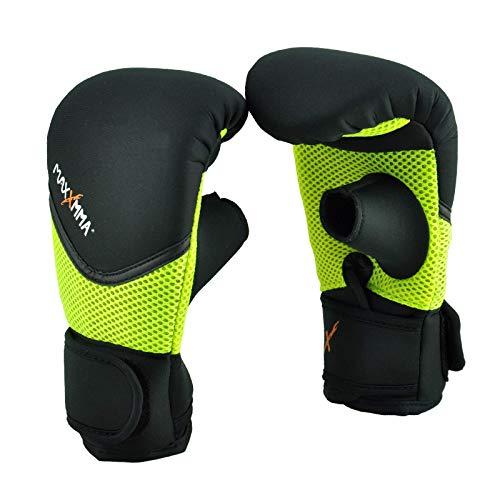 MaxxMMA Neoprene Washable Heavy Bag Gloves - Boxing Punching Training (Neon Yellow, S/M)