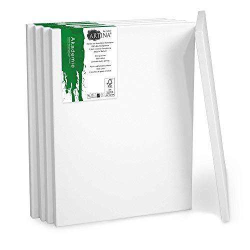 Artina Set da 5 Tele per Pittura 18x24 cm Serie Akademie - 100% Cotone Bianco 280g/m² - Telaio in Legno Certificato FSC - Non Si deforma - Tele intelaiate per Pittura